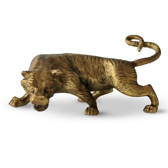 Brass Tibetan Tiger Sculpture