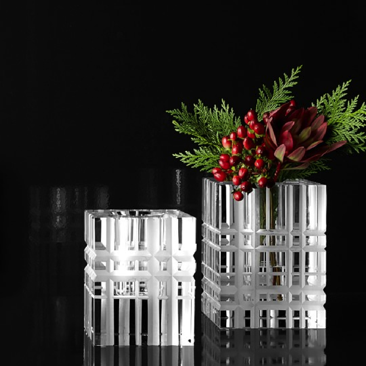 Overscale Etched Tartan Crystal Vases