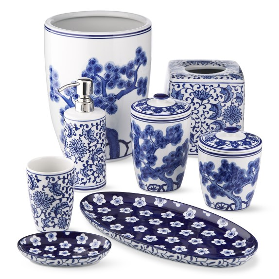 Blue and White Ceramic Bath Accessories