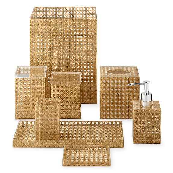 Rattan and Acrylic Bath Accessories