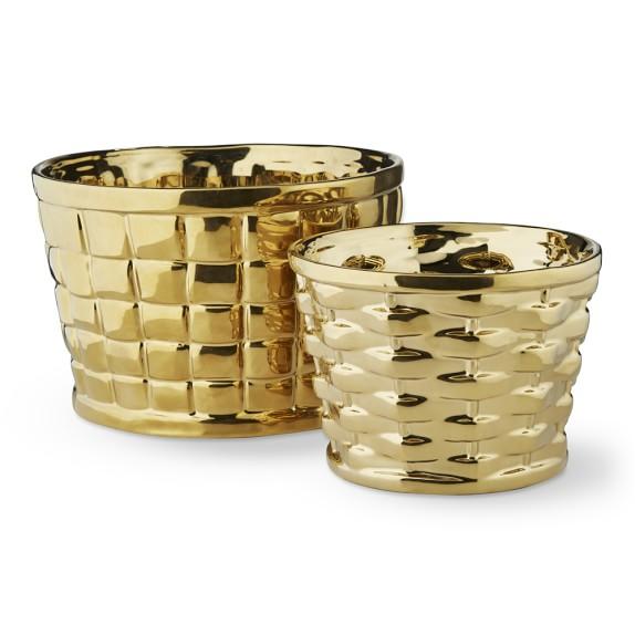 AERIN Gold Woven Cachepots