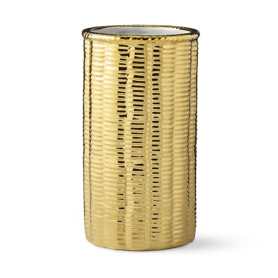 AERIN Gold Ceramic Basketweave Vase