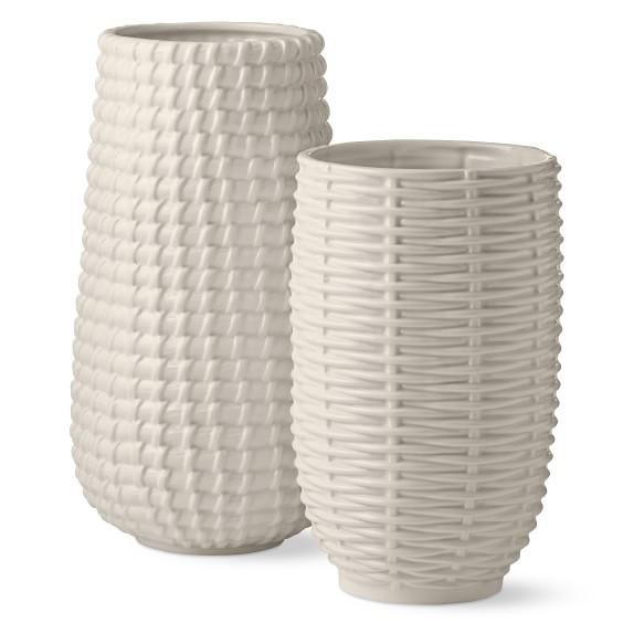 AERIN Basketweave Ceramic Vases