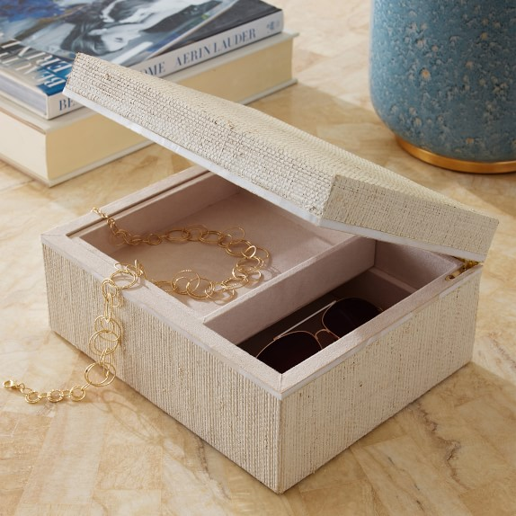 AERIN White Raffia and Shell Jewelry Box