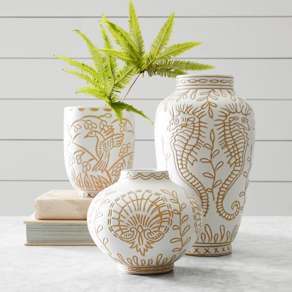 AERIN Carved Terracotta Vases