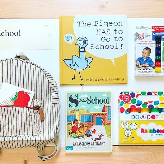 "🍎📚G I V E AWA Y📚🍎 September kicks off #playathome_school and we are so excited to start things off with this giveaway! The winner will receive a Hearth & Hand mini backpack, a copy of ""S is for School: A Classroom Alphabet,"" a set of Do a Dot Art, Kwik Stix, a set of old fashioned arithmetic flash cards from Haystack Mercantile, and a copy of ""The Pigeon has to go to School"". To enter: ✏️Like this photo ✏️Tag 3 friends ✏️Follow all accounts  @ureadyteddy @littlebee_bookclub @darlingreaders @sandboxacademy @lauraashley0115 @handsinsensorybins @4theloveofteaching  This giveaway is open to US residents only and is no way sponsored, endorsed, or administered by Instagram. Contest will end Sunday 9/8 at 10 pm CST and winner will be announce or 9/10."