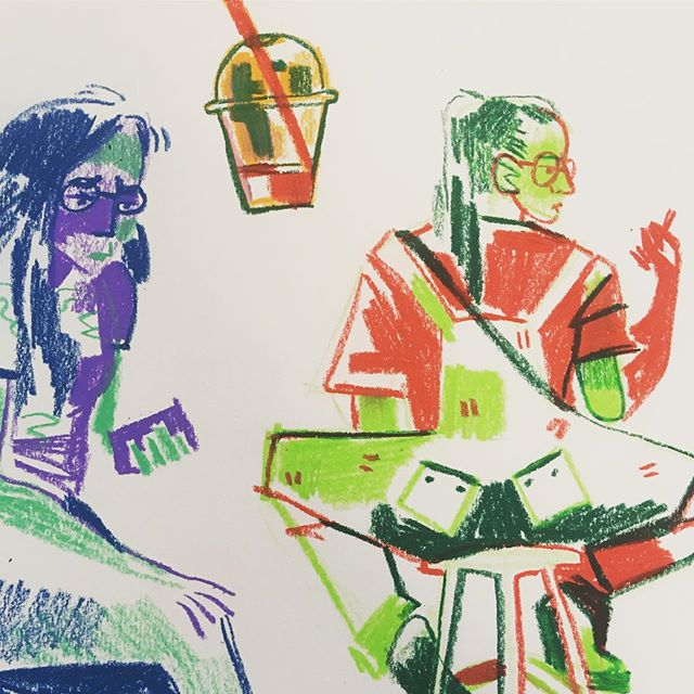 a couple idle ladies  #art #illustration #illustrator #traditionalart #watersolublecrayons #crayon #doodle