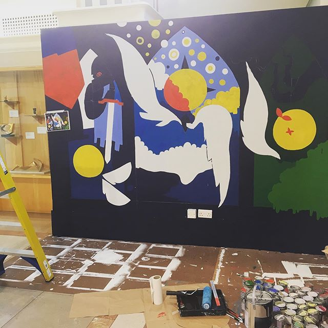 day three progress update at @southamptoncityartgallery !  #art #painting #wallpainting #mural #illustration #southampton