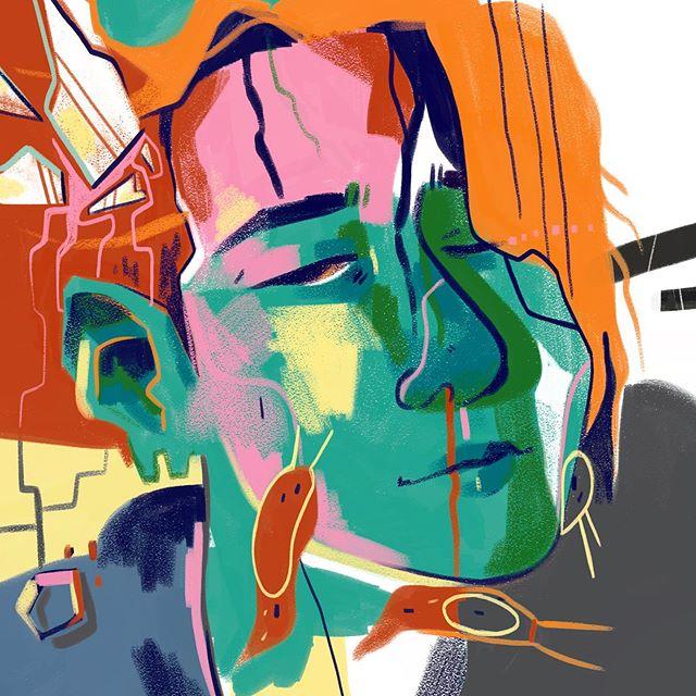 my two braincells were rattling around in my head as i drew this  #art #illustration #digitalart #portrait #digitalpainting