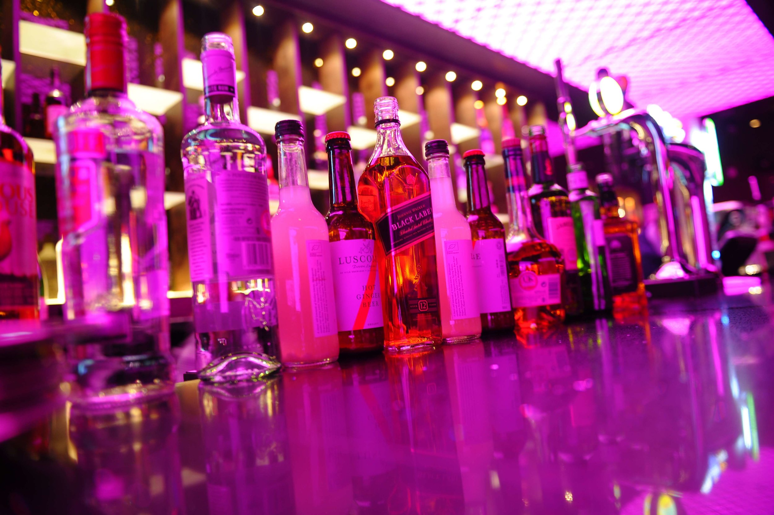 bottles of spirits at an event at Venue5