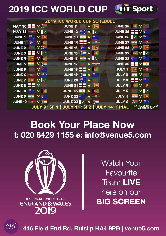 ICC World Cup Venue 5 Brunch Lunch Menu 1
