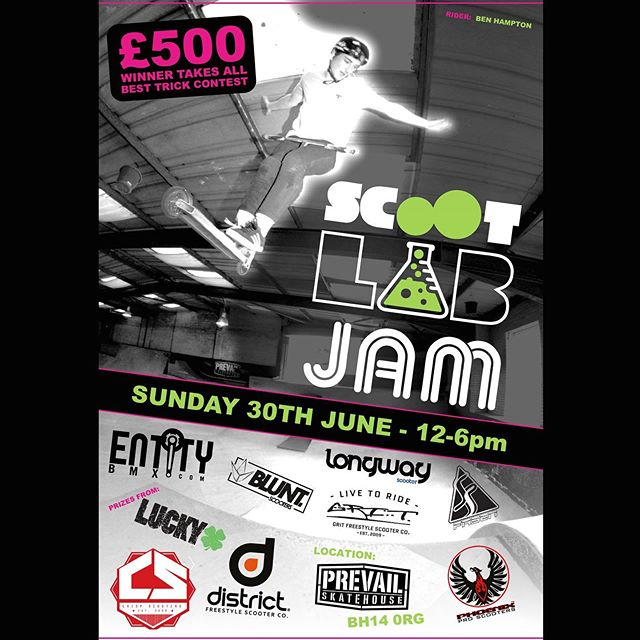@scootlab_ jam!! 30th of this month!  Who's keen? 12-6 £20! And a chance to win £500 and so many prizes from so many great brands! #supportyourlocalskatepark #freestylescooter