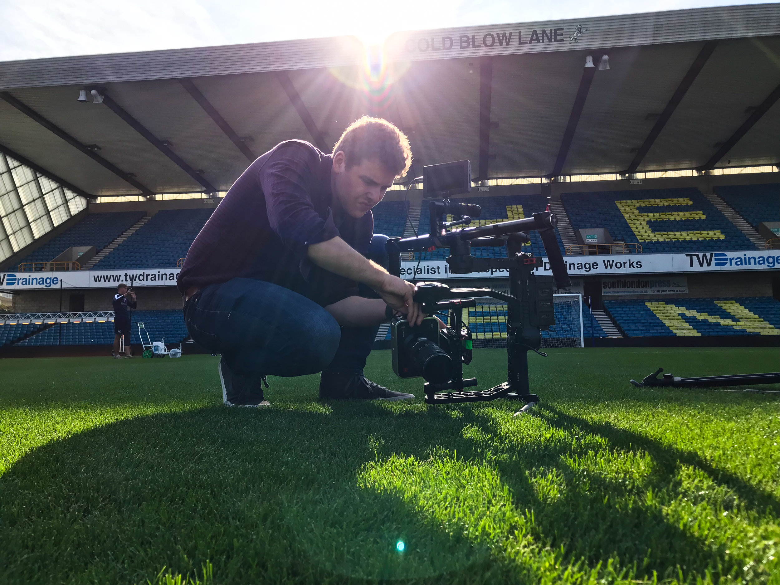 Alex Stockley setting up the DJI Ronin