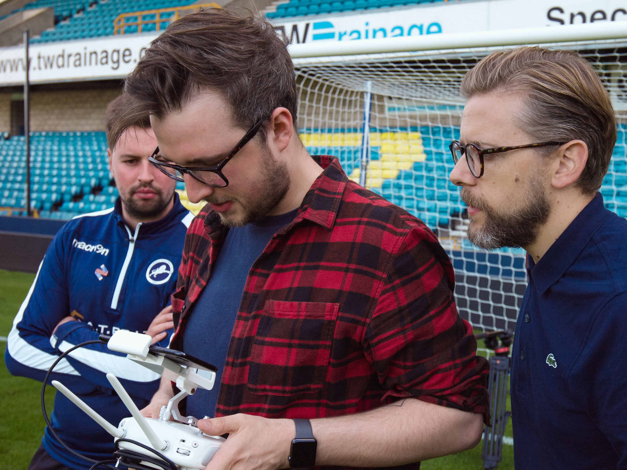 Grant Willis and Lewis Rees using the drone
