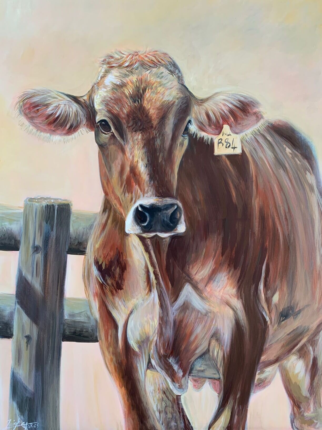 SOLD: Brown Swiss on 1m x 90 stretched canvas. R5000