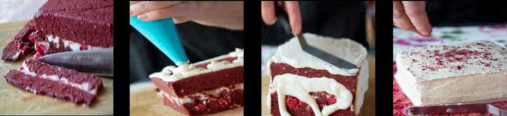 Constructing red velvet cake