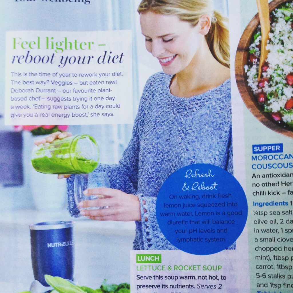Article featuring green tropical smoothie