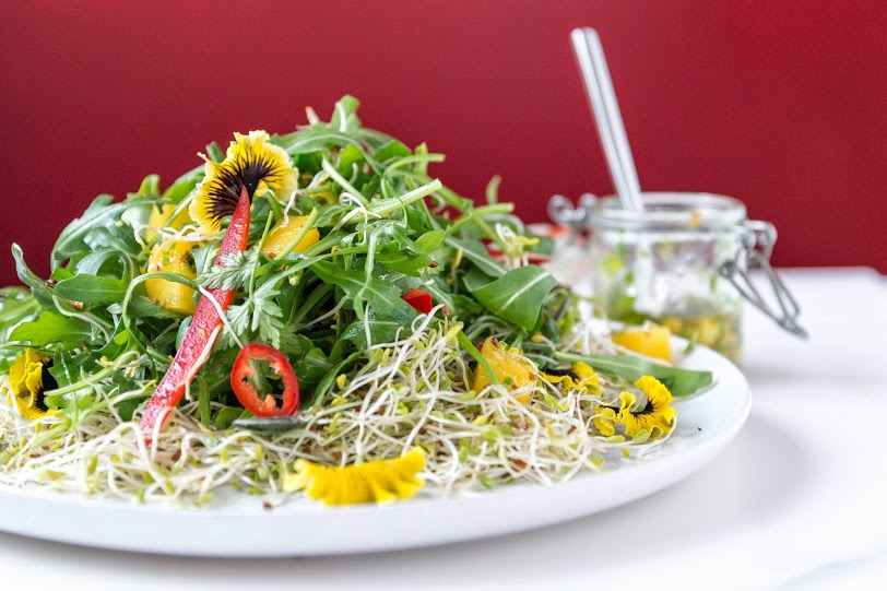 Spring Alphonso Mango Salad with Pistachio Dressing