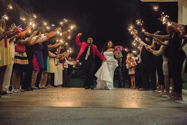 Some wedding guests light sparklers, release balloons,  or throw rice or flower petals to send off the newlyweds after the wedding. What are some of your favorite traditions for sending off the bride and groom?