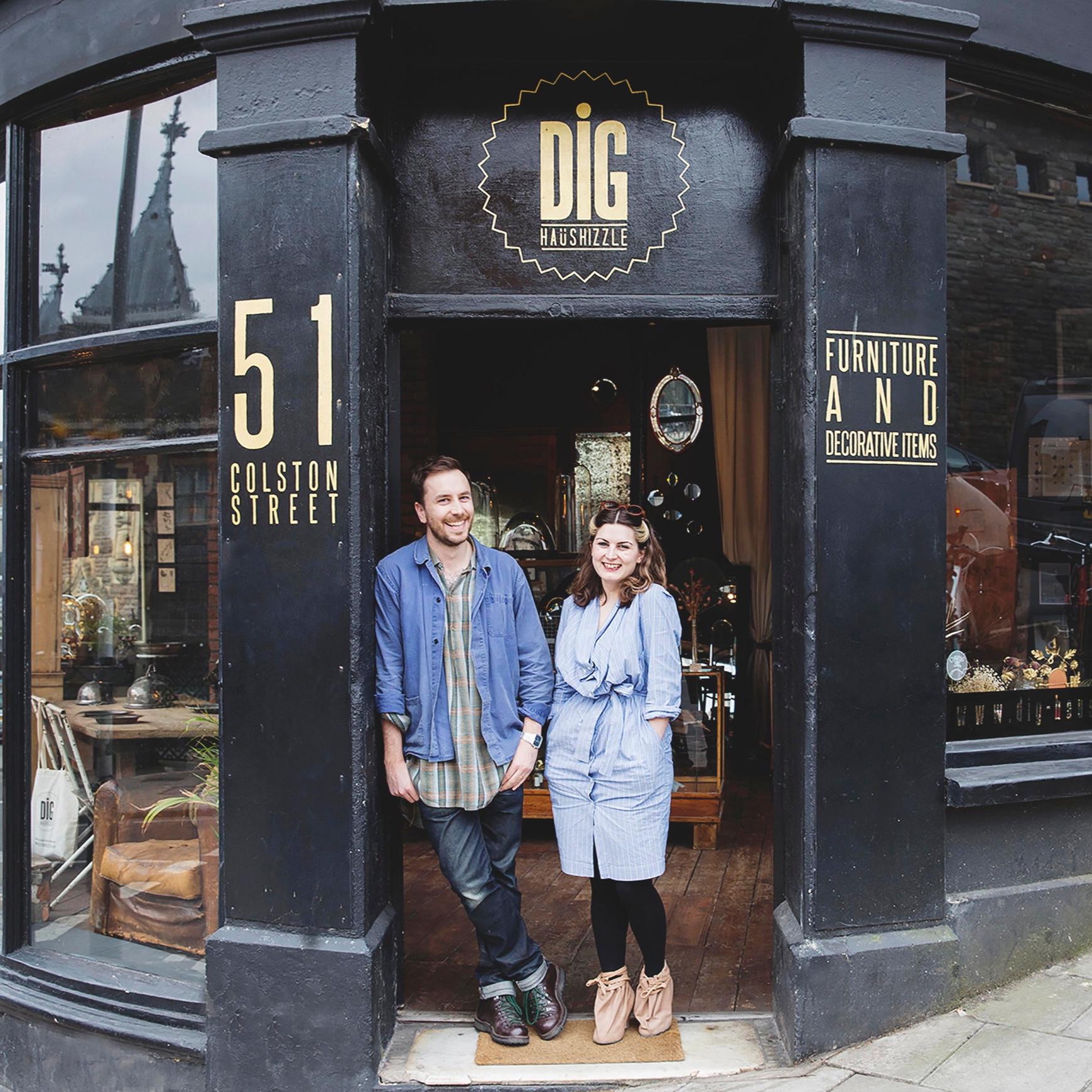Edward and Cassie Nicholas Dig Haushizzle Bristol. Decorative Antique and Vintage furniture shop. Interior Design Masters BBC, Netflix, Fearne Cotton