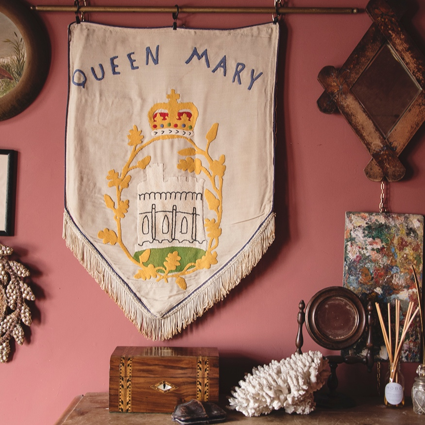 vintage queen mary felt wall hanging