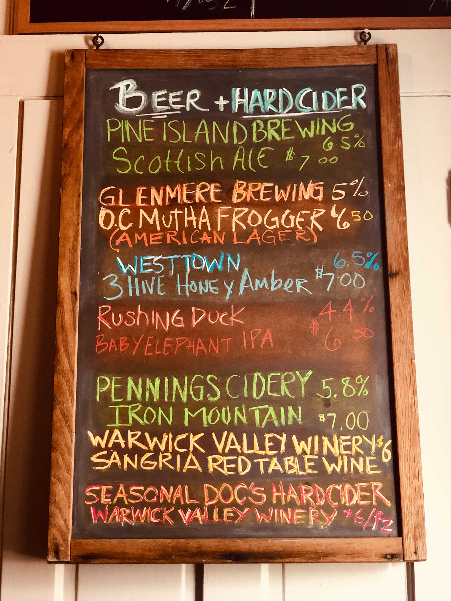 Local Brews   Beers and Hard Ciders from:  Pine Island Brewing ,  Glenmere Brewing Co. ,  Westtown Brew Works ,  Pennings Cidery  and  Warwick Valley Winery .