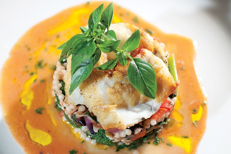 Wild monkfish with broccoli, kale, tomatoes and Israeli couscous