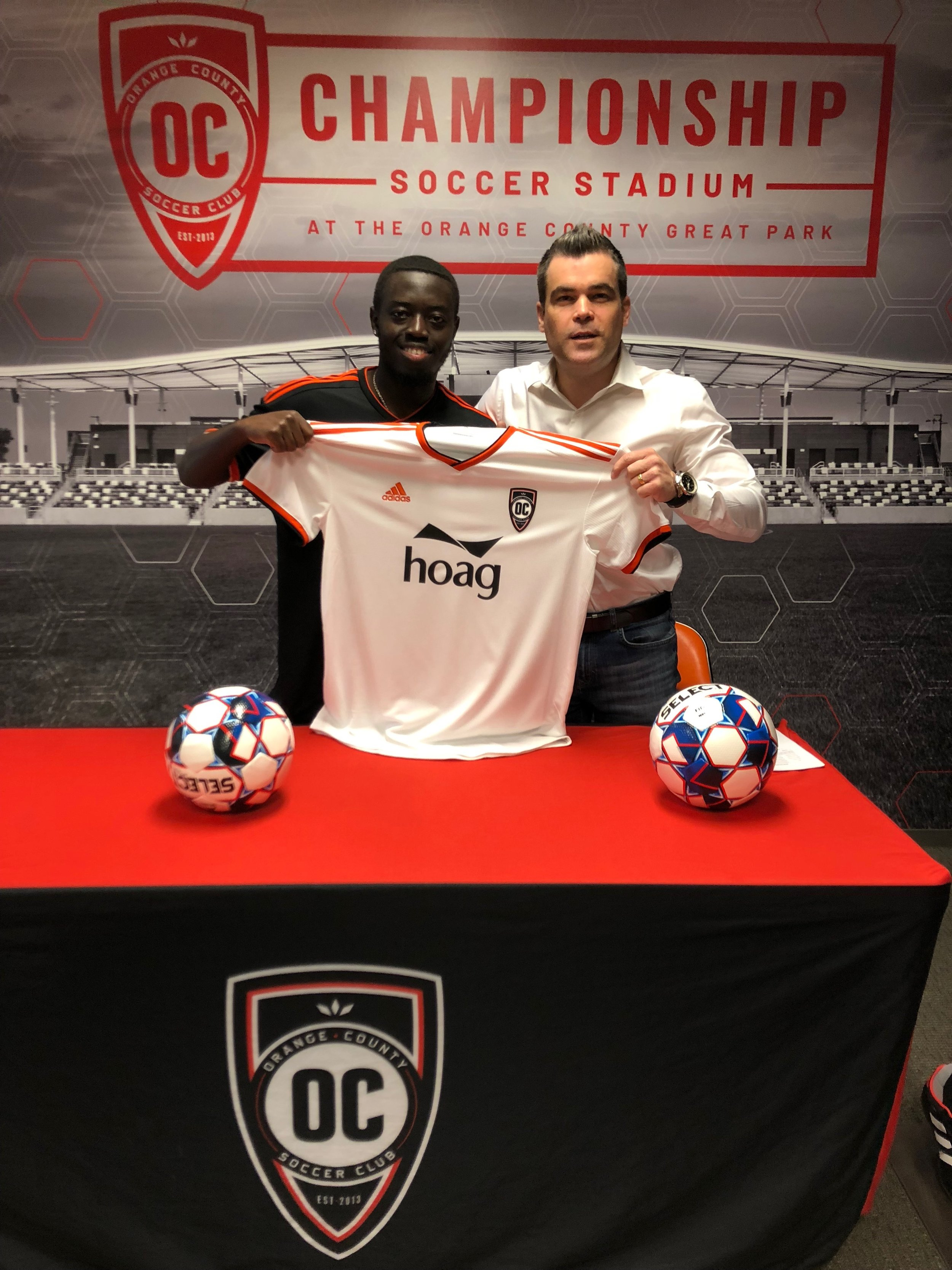 Kevin Coleman with Orange County SC GM Oliver Wyss | Photo courtesy of Orange County SC