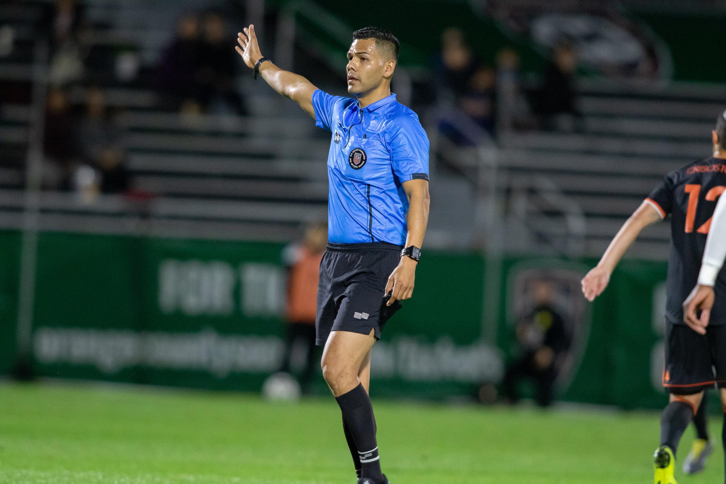 Referee Gustavo Solorio makes a call at Championship Soccer Stadium | Photo courtesy of Orange County SC