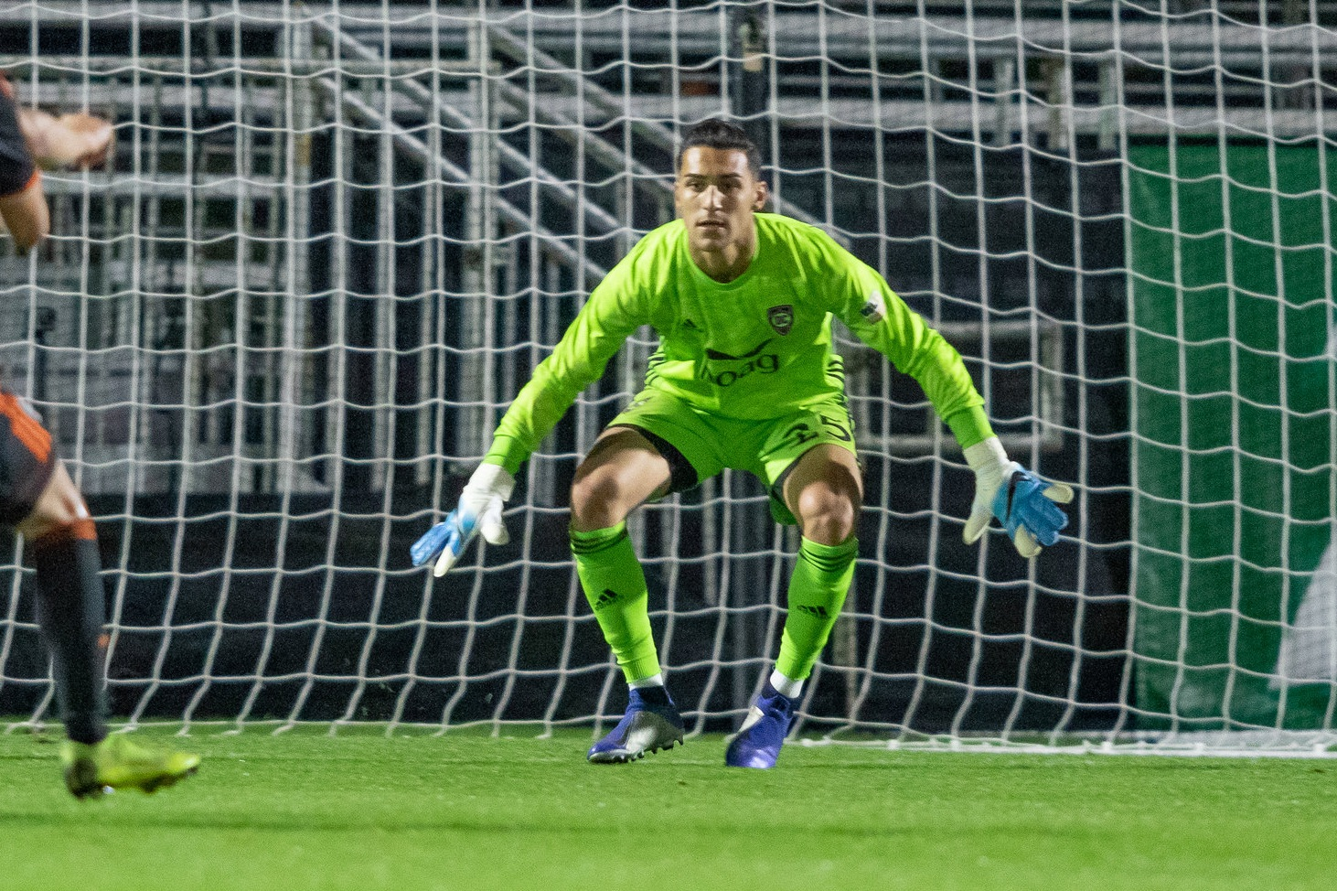 Orange County SC keeper Aaron Cervantes prepares for a save on his professional debut. | Photo courtesy of Orange County SC