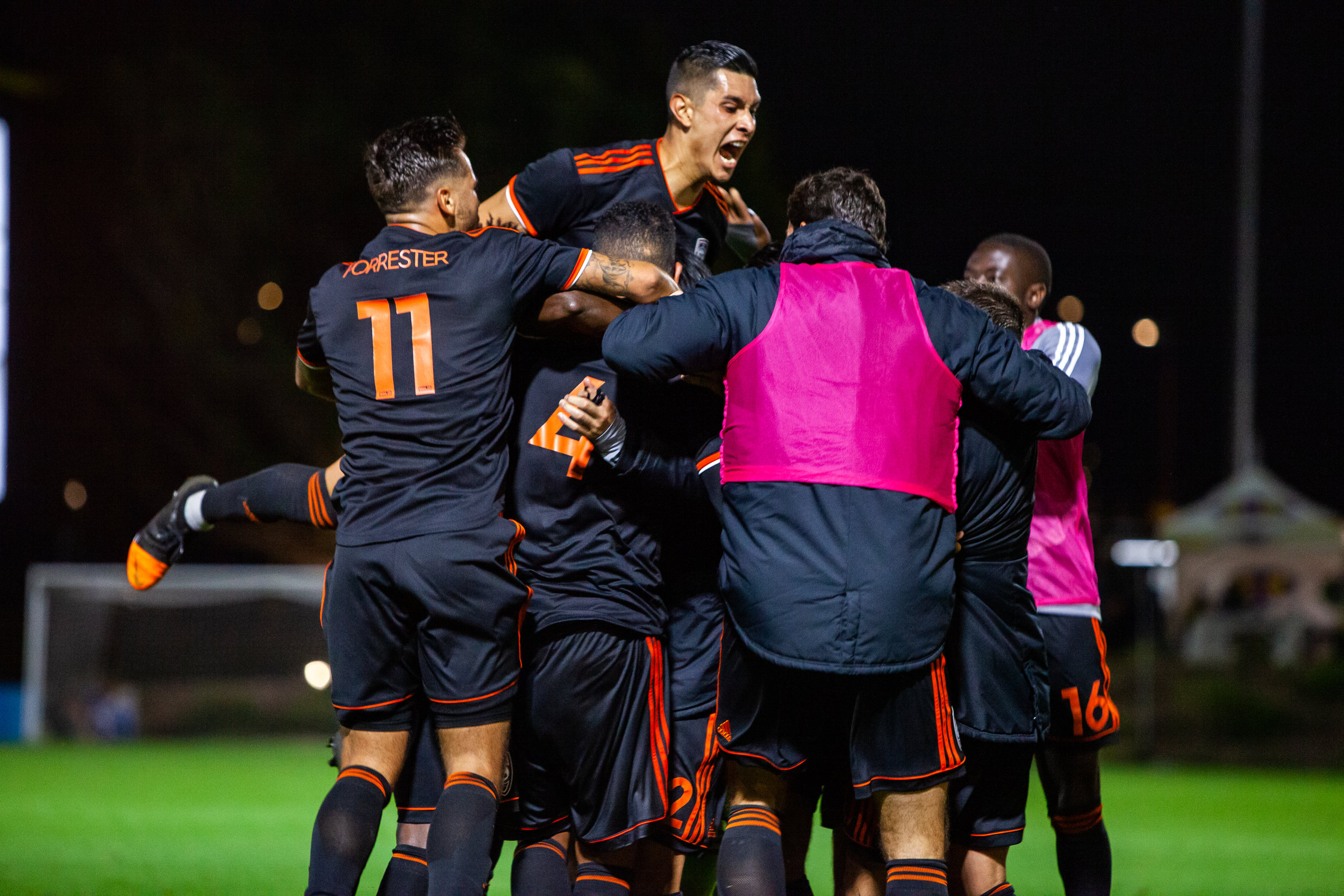 Orange County SC celebrates after scoring an equalizer in stoppage time of their 2-2 draw against New Mexico United     Photo courtesy of Orange County SC
