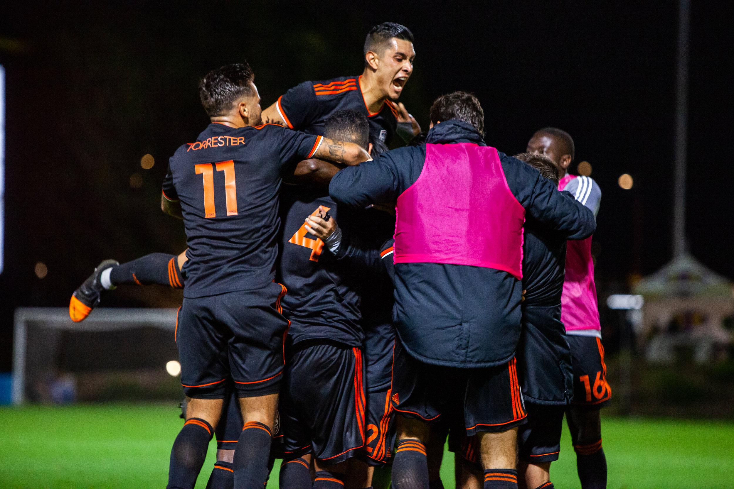 Orange County SC celebrate goal against New Mexico United  |  Photo courtesy of Orange County SC
