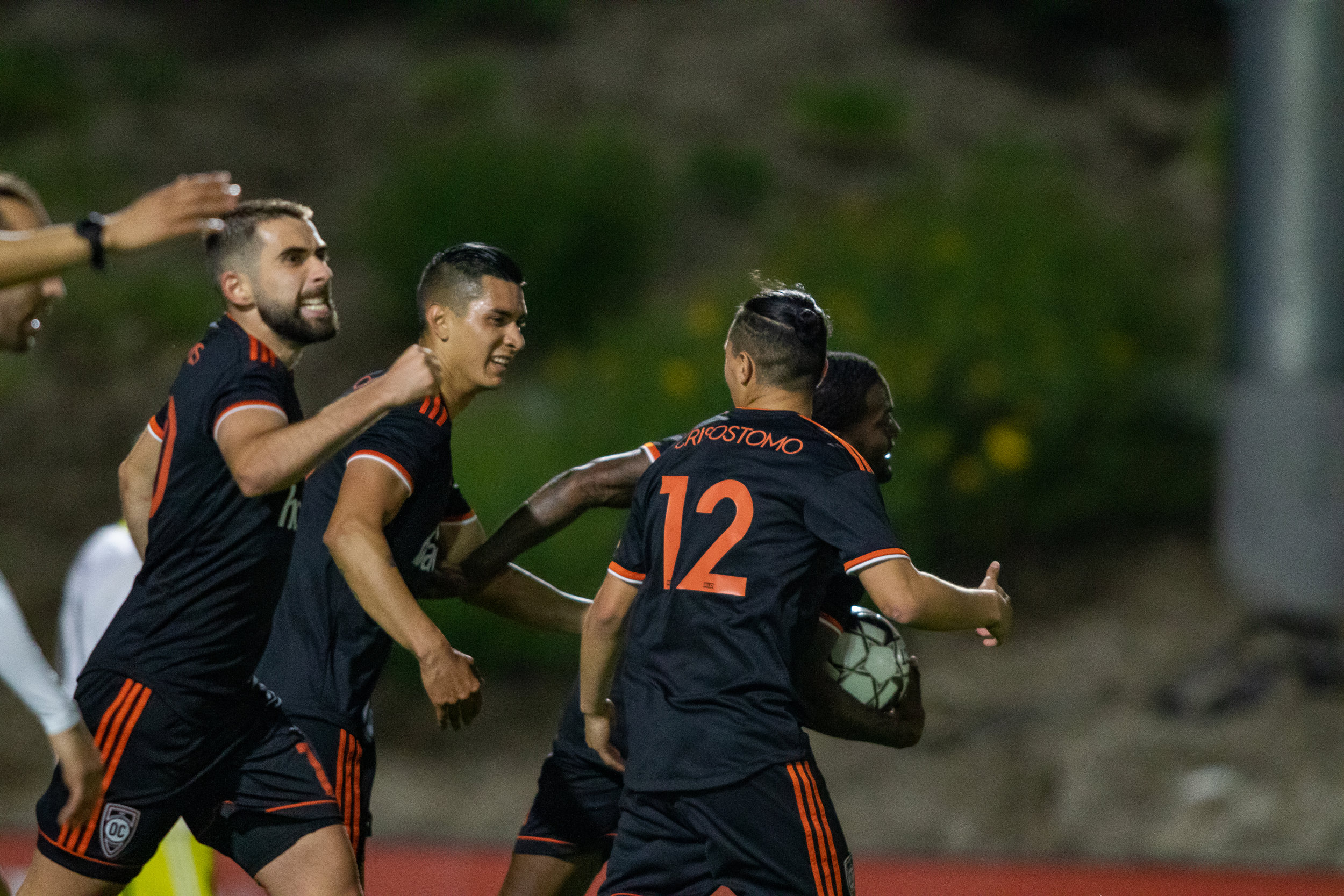 Orange County SC's Darwin Jones celebrates with teammates after scoring a goal against New Mexico United | Photo courtesy of Orange County SC