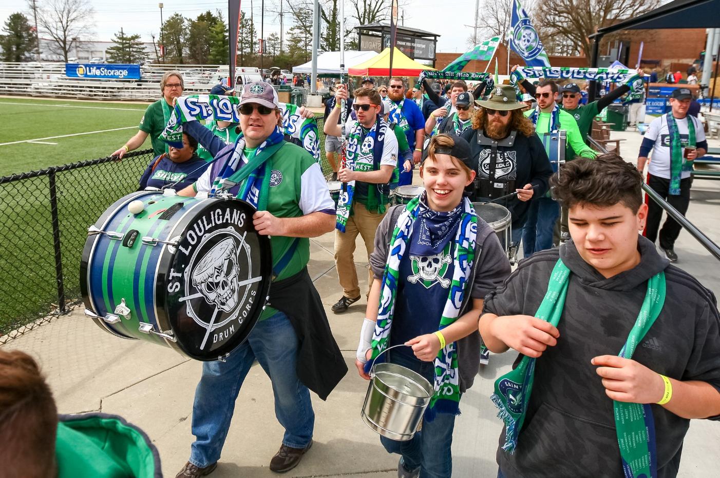 Saint Louis FC fan group St. Louligans at a recent match | Photo courtesy of Twitter (@SaintLouisFC)