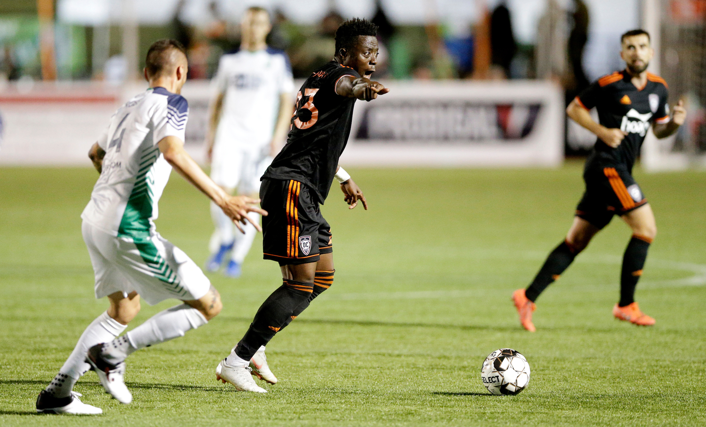 Orange County SC's Kontor Owasu-Ansah  directs traffic in their 1-0 loss to OKC Energy FC  |  Photo courtesy of OKC Energy FC