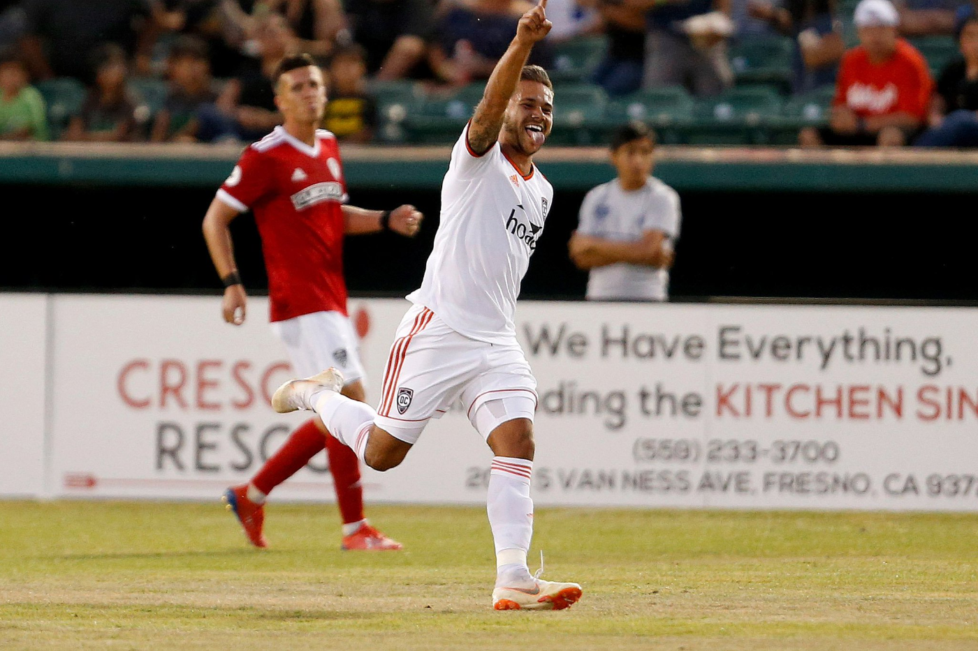 Orange County SC's Harry Forrester celebrates after scoring his first USL Championship goal in a 2-2 draw against Fresno FC in Fresno | Photo courtesy of Fresno FC