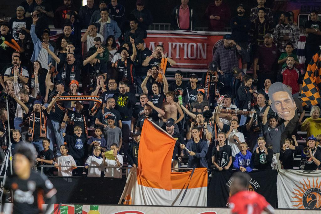 The County Line Coalition at the 2018 Western Conference Finals.  Photo courtesy of Orange County SC.