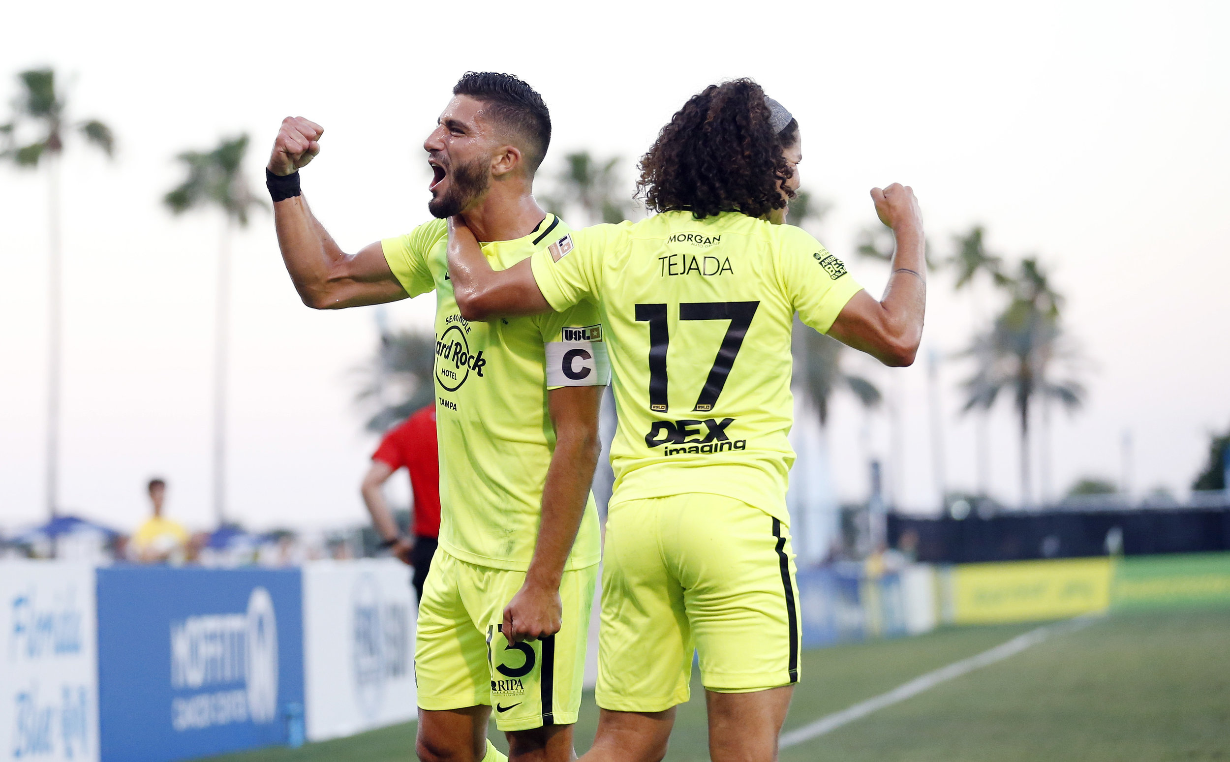 Tampa Bay Rowdies captain Sebastian Guenzatti celebrates with teammate Juan Tejada. | Photo courtesy of Tampa Bay Rowdies/Matt May.