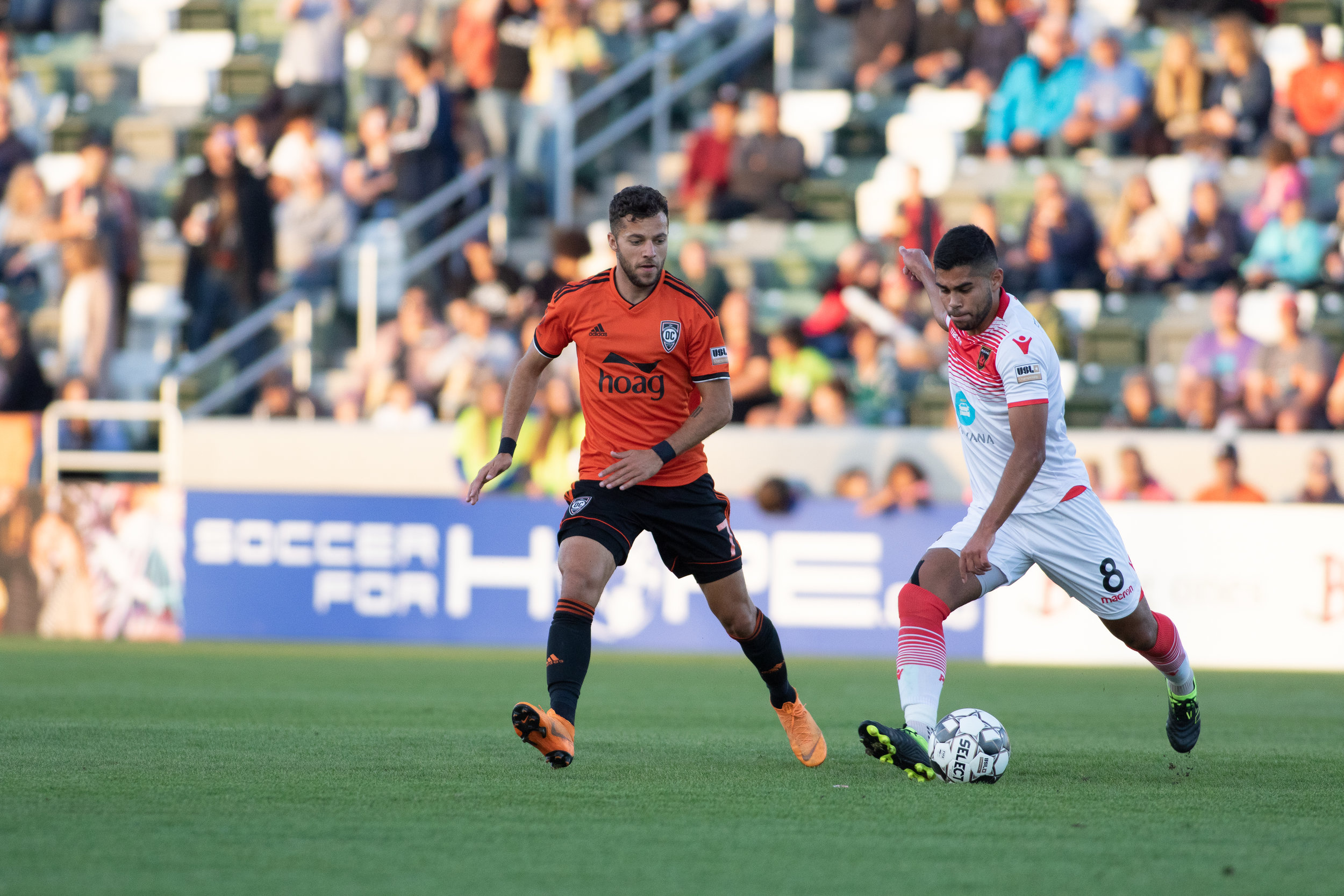 Orange County SC's Jerry van Wolfgang playing defense in their 2-1 win over Phoenix Rising FC. | Photo courtesy of Orange County SC/Liza Rosales