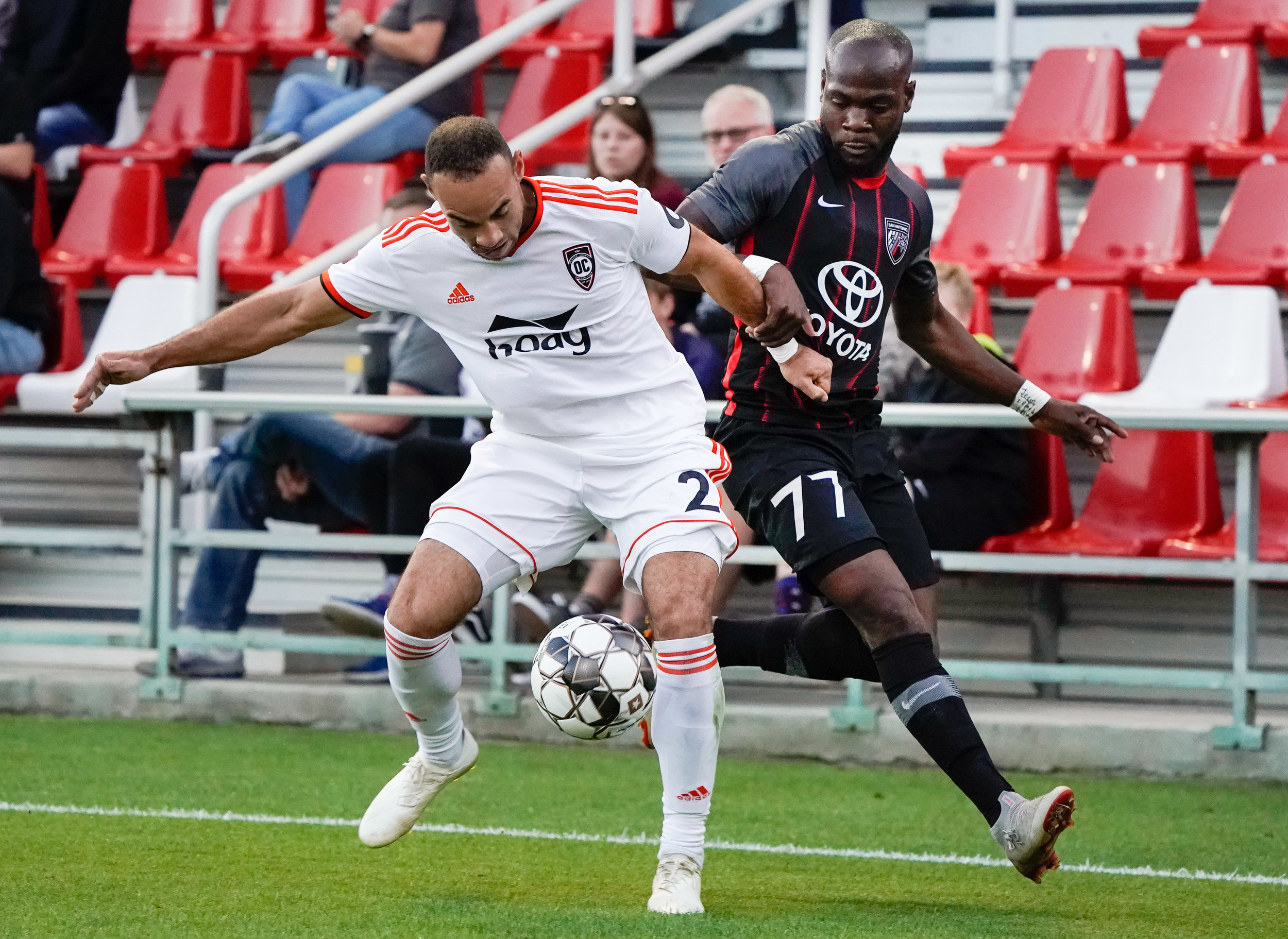 Orange County SC captain Kevin Alston shields the ball from San Antonio FC midfielder Billy Forbes in their 0-0 draw.  |  Photo courtesy of San Antonio FC