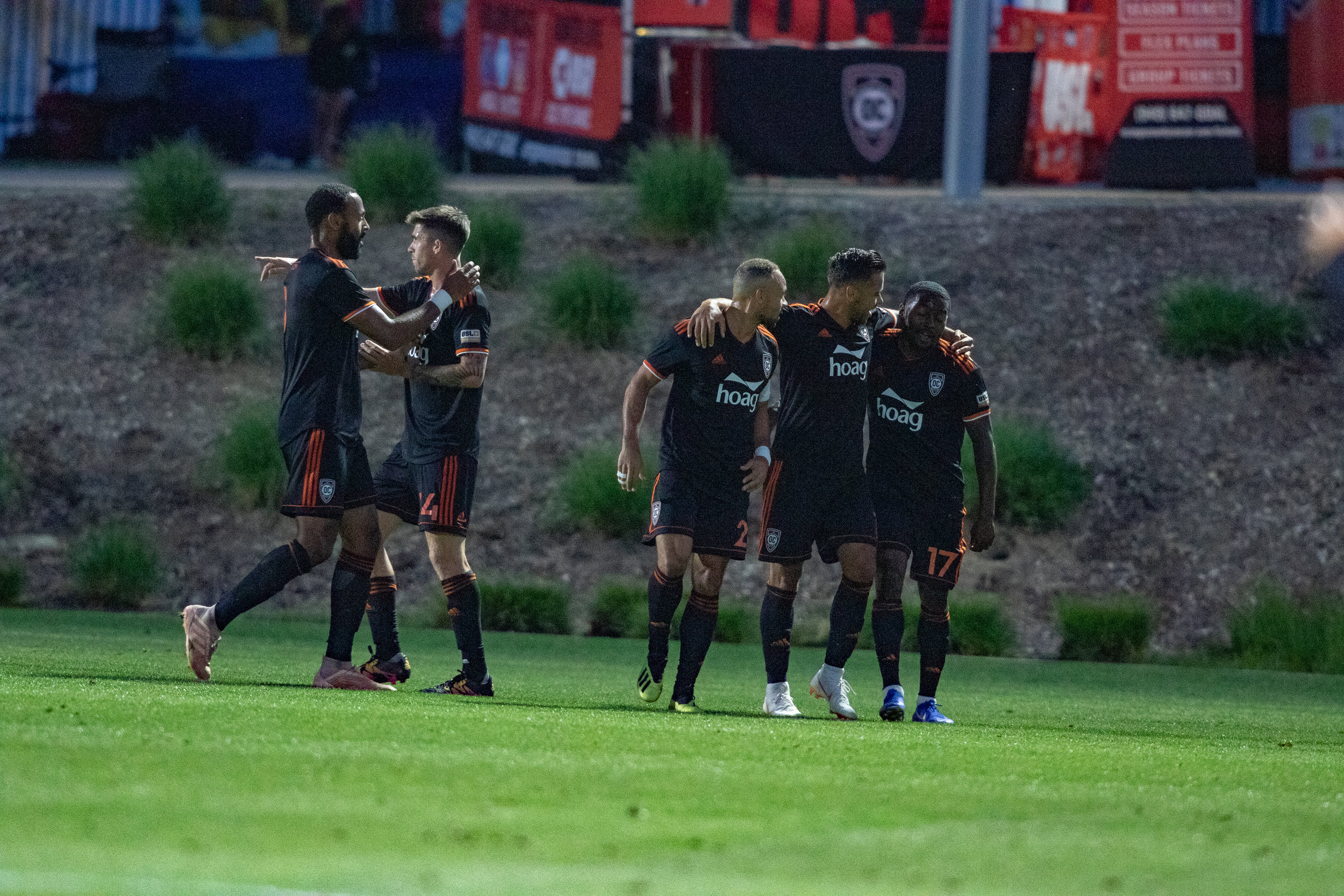 Orange County SC players celebrate after scoring a goal against Tacoma Defiance. |  Photo courtesy of Orange County SC/Liza Rosales