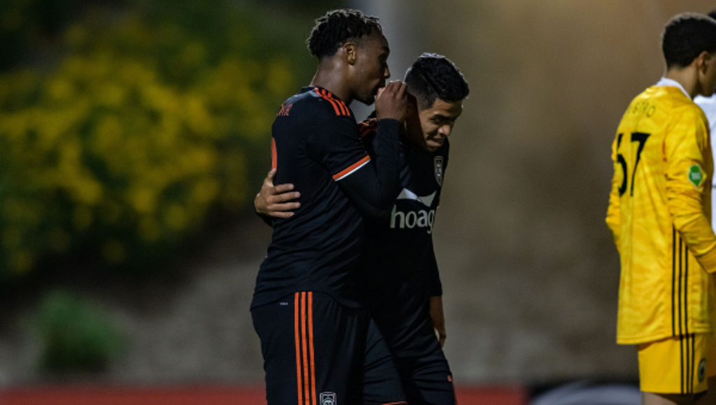 Michael Seaton and Vinicius in good spirits following the latter's first goal in OC.  Photo credit to Orange County SC .