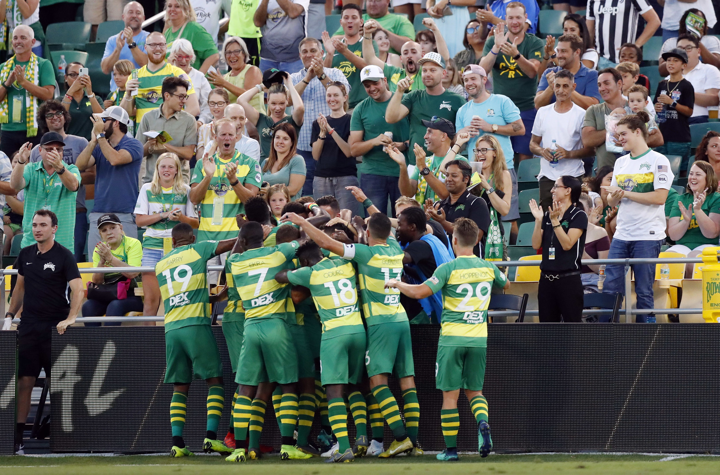 Tampa Bay Rowdies players celebrate in front of their fans.  |   Photo courtesy of Tampa Bay Rowdies/Matt May