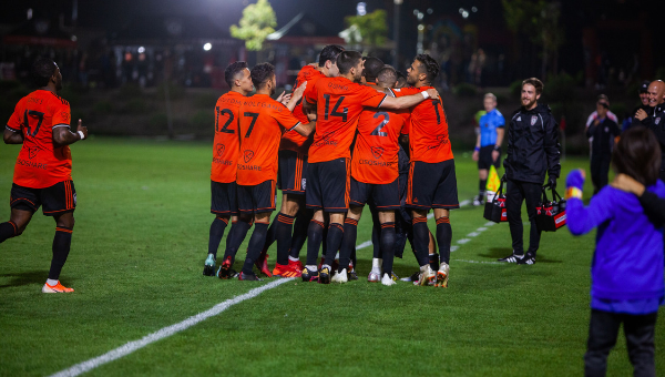 Orange County had plenty to celebrate in the first fixture between the two sides in 2019.  Photo courtesy of Orange County SC/Liza Rosales.