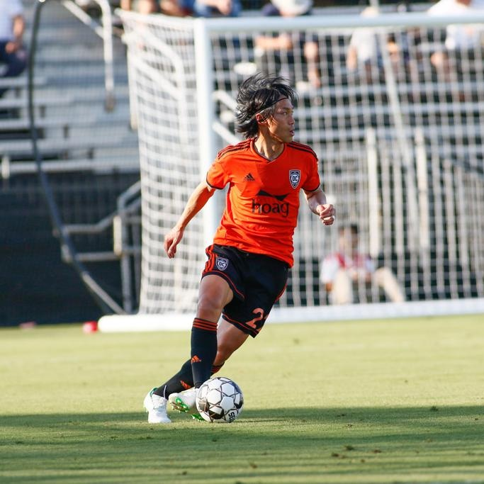 Koji Hashimoto on the ball deep in his own half against the Timbers 2. His performance, although not a full ninety, was one of OC's best.  Photo credit: Liza Rosales/Orange County SC.