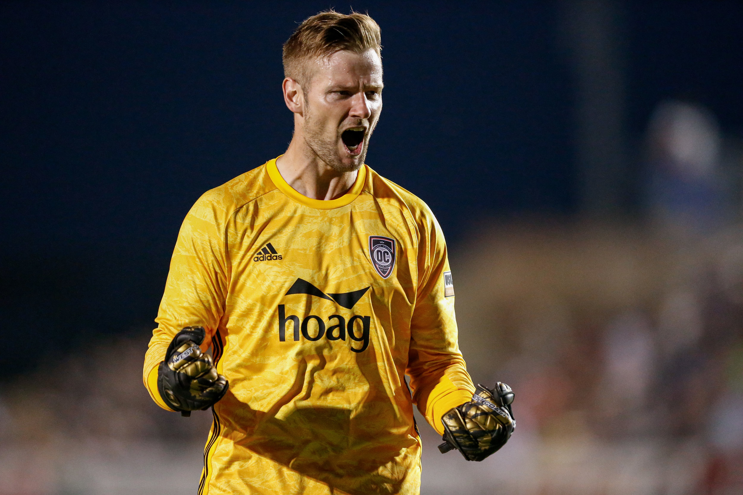 Orange County SC goalkeeper Patrick McLain celebrates after the team's 2-1 road victory over Colorado Springs Switchbacks FC. |  Photo courtesy of Isaiah J. Downing.