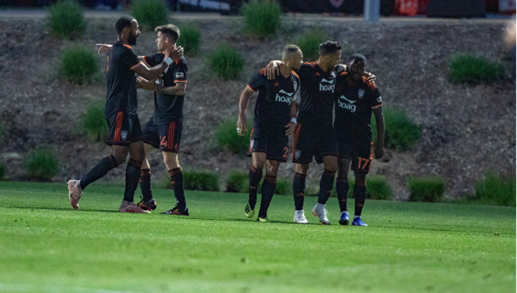 Teamwork makes the dream work, and the win in Colorado Springs was team work at its finest.  Photo courtesy of Liza Rosales/Orange County SC.
