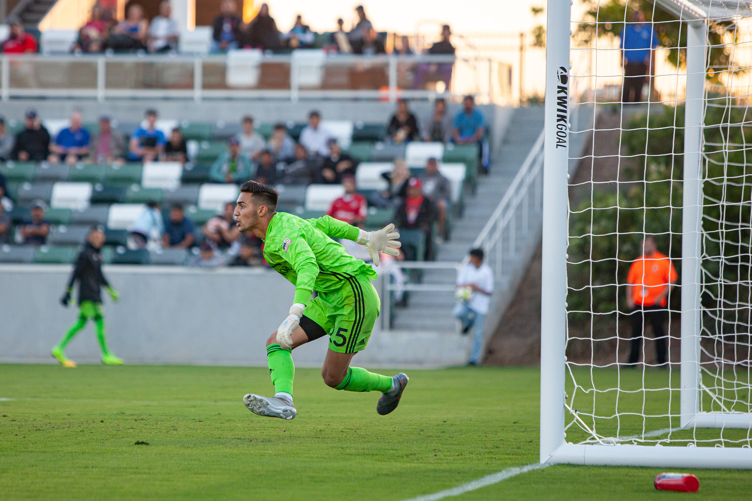 Aaron Cervantes made three huge saves to keep OCSC in the game until extra time.  Photo courtesy of Liza Rosales/Orange County SC.