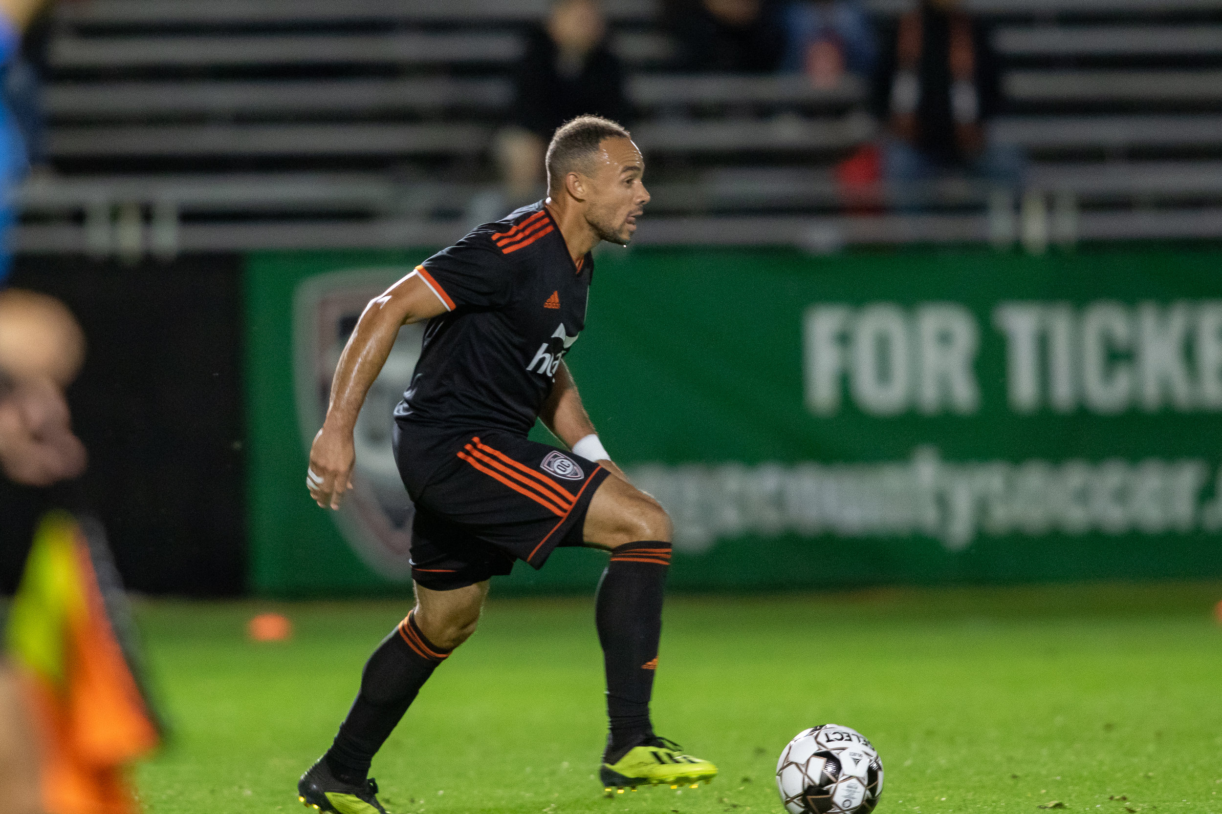 Kevin Alston, playing here against the Bold, was happy to be back in the line-up against San Antonio FC. Alston had not been on the pitch since June 15th.  Photo courtesy of Liza Rosales/Orange County SC