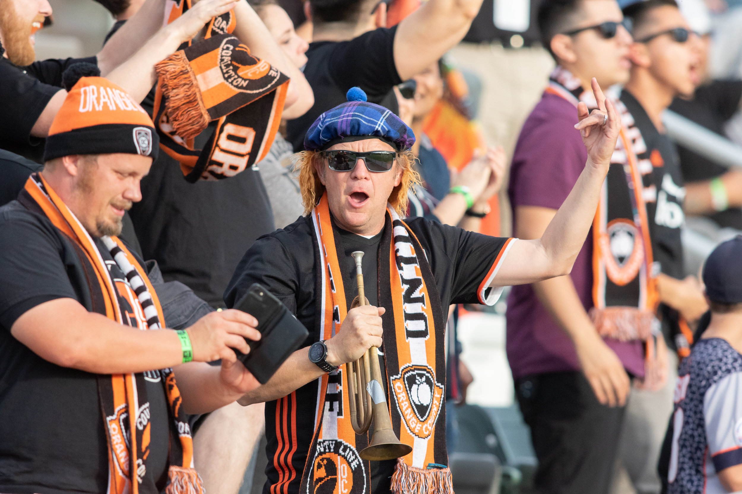 There were no goals, but the County Line Coalition were in great spirits and never stopped singing.  Photo courtesy of Liza Rosales/Orange County SC .